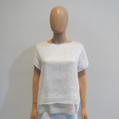 Fabiana Filippi White/Ivory Cotton/Silk/Linen Sleeveless Top Size S