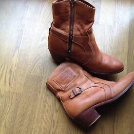 Light tan ankle length cowboy boots