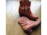 Light tan ankle length cowboy boots