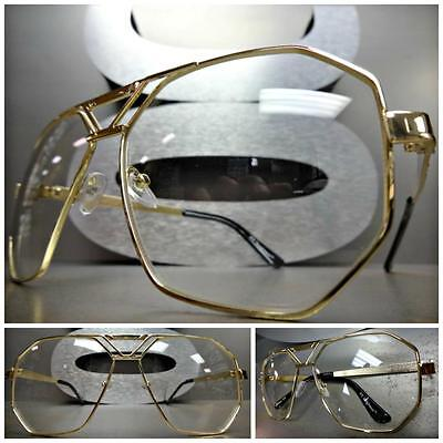 OVERSIZE CLASSIC VINTAGE 70s RETRO Style Clear Lens EYE GLASSES Large Gold (70s Style Glasses Frames)