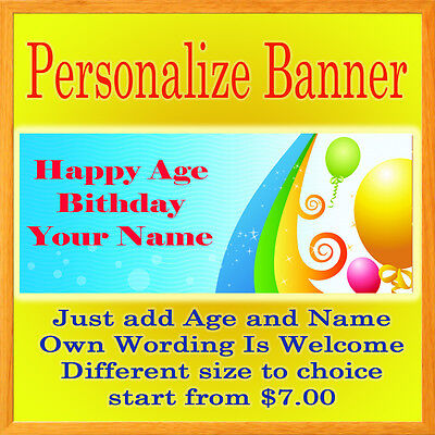 Personalized Party Signs (Custom Personalized Birthday Party Vinyl Banner Anniversary Different Sizes)