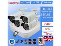 4 Channel AHD CCTV DVR Recorder with 1Mega Pixel 720P Bullet Security Cameras