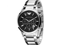 Mens Emporio Armani Chronograph Watch Classic Stainless Steel AR2434