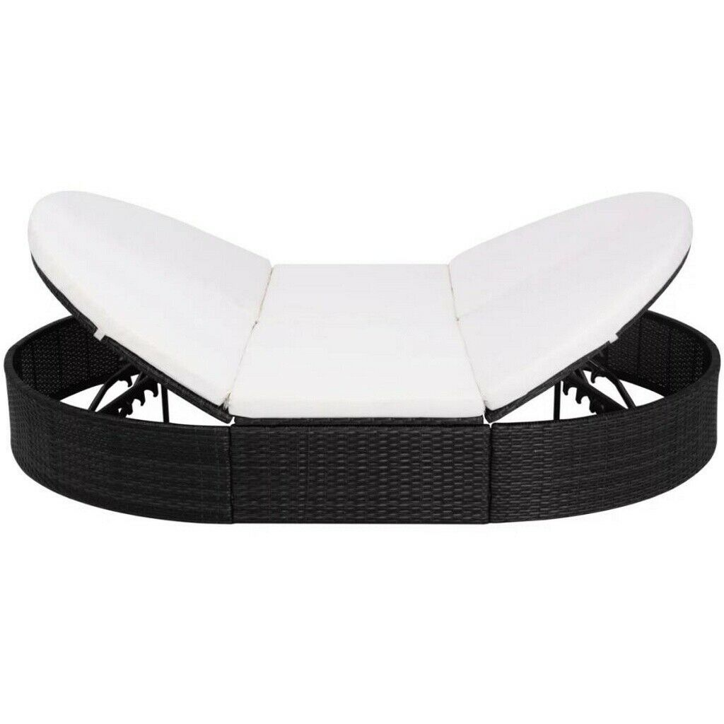 Garden Furniture - Rattan Outdoor Garden Sofa Furniture Lounge Bed Patio Sun bed 2person 6 Cushions