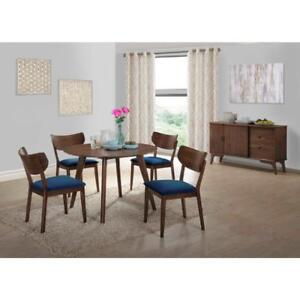 Rosie Modern Casual Dining Table and Chairs 5 pc Set- Walnut