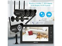 """Digital Wireless CCTV System 4 Cameras & Recorder with 7"""" TFT Screen Storeage to 32gb SD Card"""