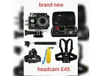 Brand new Headcam turn on once to see work loads of accessories