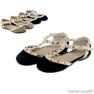 New Girls Kids Ballet Flats Black,Taupe Casual  Studded T-Starp Dress Shoes - Girls Black Flats