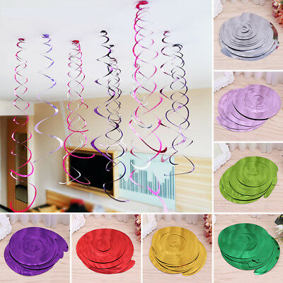 6Pcs Hanging Swirls Banner Rainbow Spiral Ornaments Party layout Wedding Decor