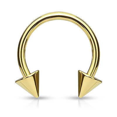 1pc Gold Spiked Circular Barbell Horseshoe Septum, Nipple, Eyebrow Ring Spike