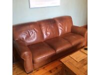Leather Suite for Sale - 3 seater sofa, two chairs, footstool and swivel chair