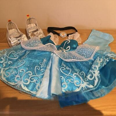 BUILD A BEAR FACTORY STUNNING DISNEY CINDERELLA OUTFIT & GLASS SLIPPERS