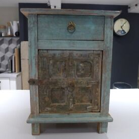 Reclaimed green/brown wooden Indian bedside cabinet/lamp stand 38w x 35d x 53l cm
