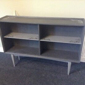 Long slim freestanding bookshelf in grey with shabby chic heart detail. Shoes, display, kitchen,
