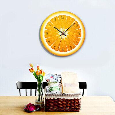 12'' Wall Clock Colored  FruitHanging Alarm Watch Home Decor -Orange Orange 12 Wall Clock