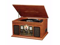 retro record player - plays vynals - radio - cd player- dvd as new