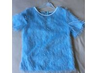Girls/Ladies Baby Blue Fluffy Top - size 6/8