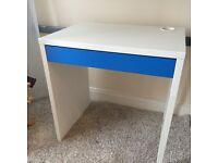 IKEA small MICKE desk white/blue, VGC