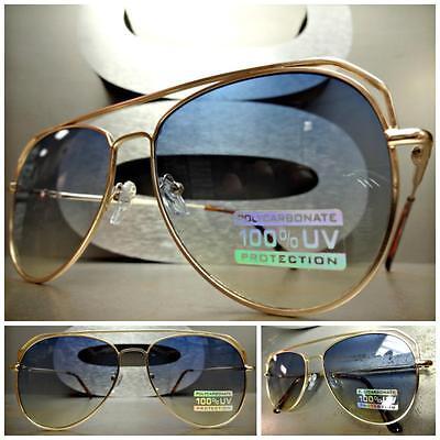 Klassisch Retro-Stil Sonnenbrille Klein Goldrahmen Blau & Gelb Ombre Linse