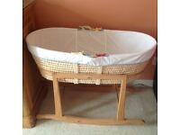 Lovely Moses basket with mattress and stand in perfect condition .from spfh, buyer collect.
