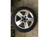 Audi A4. Alloy wheel bad chip out of the tyre still holding air