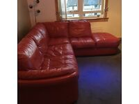 Red leather corner sofa dfs