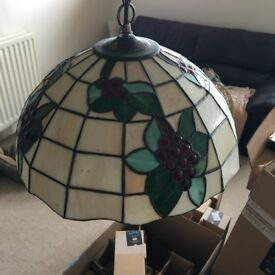 Tiffany-style leaded glass lampshade with grape motif