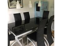 REDUCED as must go by Saturday. Dining table and six chairs - Drumfearn