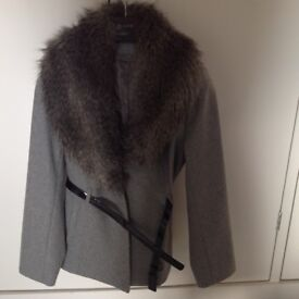 Light grey jacket with detachable collar. Size 14