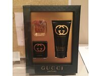 Brand New Gucci Guilty perfume gift set 5ml miniature & 50ml body lotion