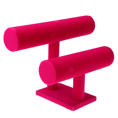 2-tier Jewelry Hard Display Stand Holder Bracelet Chain Watch T-bar Hot Pink