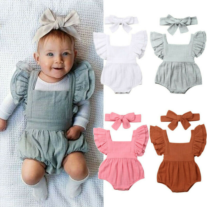 Newborn Infant Kids Baby Girls Ruffle Backless Romper Bodysuit Outfits Clothes
