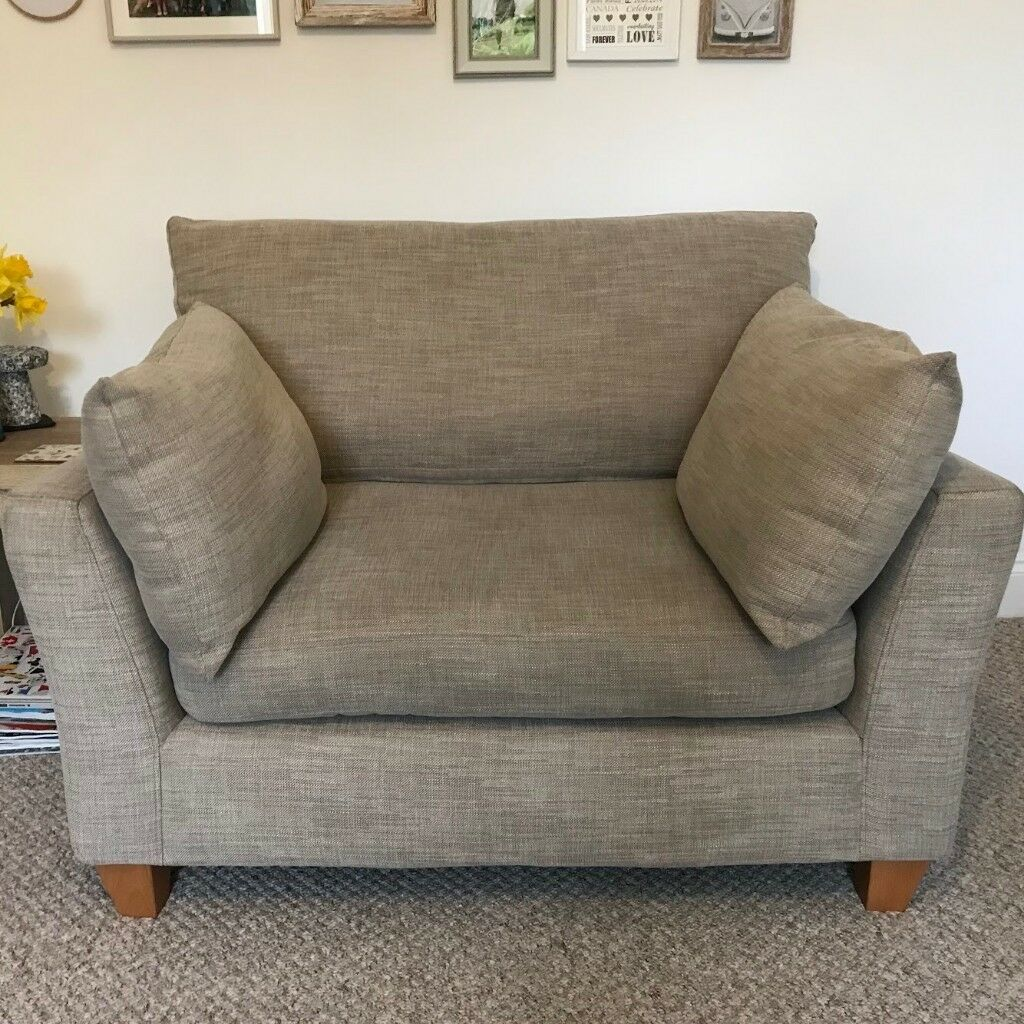 1 X Next Alexis Snuggle Sofas In Belgian Soft Twill Dark Natural Second Sofa