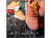 Nike roshe ones flyknit (two tone, coral & yellow)
