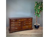 Attractive Reproduction Walnut Wide Chest Of Seven Drawers