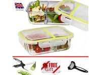 Vhari 3 Compartment Glass Food Storage Containers with Lids (1040ml x 2) Meal Prep Portion Lunch Box