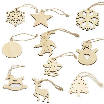 10pcs Blank Wooden Christmas Santa Snowflake Bell Hanging Tags Xmas Tree Decor