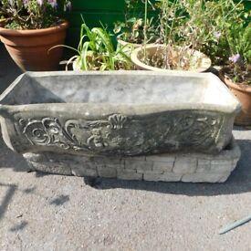 floral Patterned cement garden trough