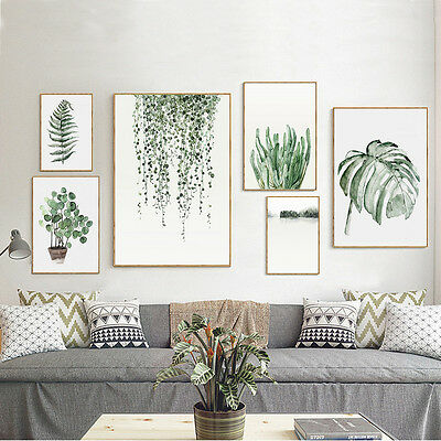 Tropical Plants Leaves Canvas Vintage Poster Wall Art Prints Modern Home - Canvas Art Poster