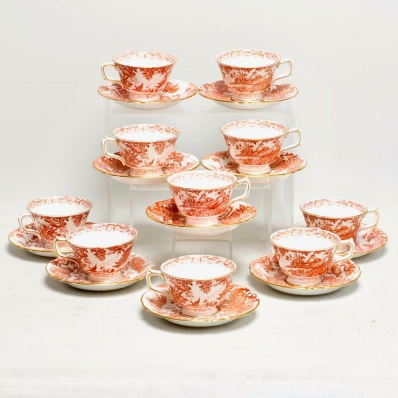 "SET OF TEN (10) ROYAL CROWN DERBY ""RED AVES"" TEACUPS W/SAUCERS"
