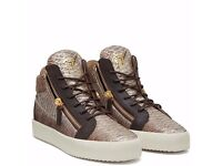 giuseppe - zanotti - Natural python-embossed leather mid-top sneakers - size 43 / 9
