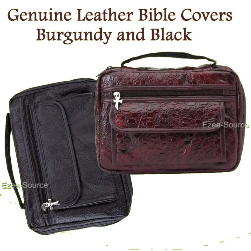 Genuine Leather Burgundy & Black Bible Book Cover Tote Case Bag Amazing Gift
