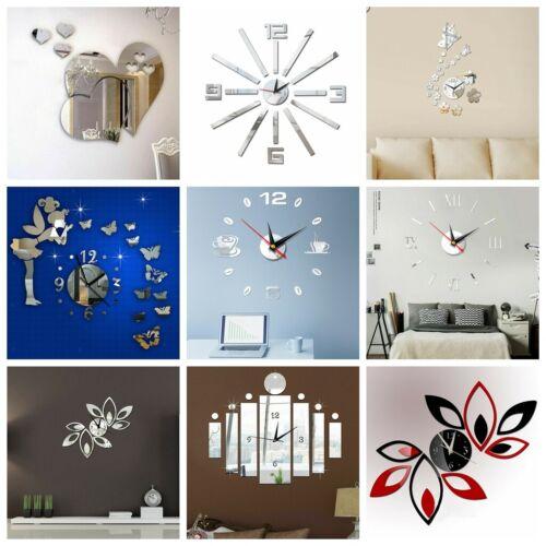 Home Decoration - 3D DIY Big Wall Clock Mirror Wall Sticker Living Room Home Art Decal Craft Decor