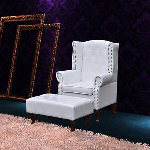 Wingback chair with ottoman white(SKU60653)vidaXL Mount Kuring-gai Hornsby Area Preview