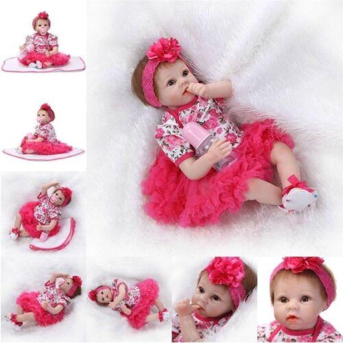 Lebensecht Reborn Baby Puppen 55CM Weiche Silikon Neugeborene Spielzeug Geschenk