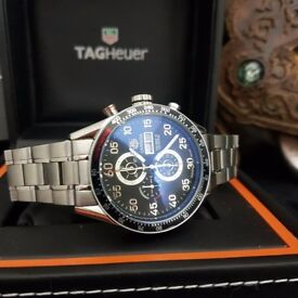 New Mens bagged and boxed Tag Heuer Carrera chronograph watch with silver strap black face