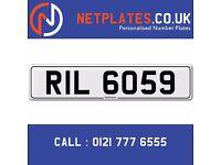 'RIL 6059' Personalised Number Plate Audi BMW Ford Golf Mercedes VW Kia Vauxhall Caravan van 4x4