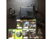 Xbox 360S (4GB) inc. wireless controller w/charger cable, power supply, turtle beach hdset + 8 games
