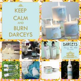 Scented candles and body products