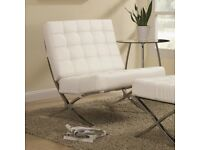 SUPERB BARCELONA WHITE LEATHER/CHROME ARMCHAIR & STOOL FOR NURSES CHARITY